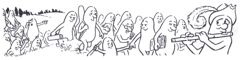 cartoon of a flautist leading a group of people along a path